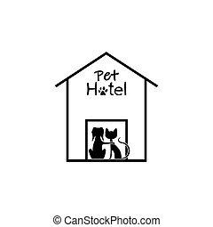 Pet hotel icon isolated on white background