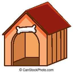 pet house with red roof on white background