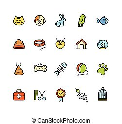 Pet Icon Colorful Set. Vector