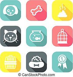 Pet Icons Flat Design 1