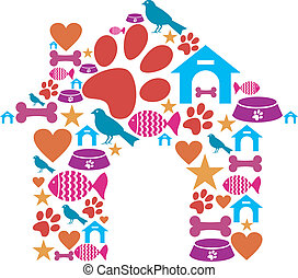 Pet kennel shape made with icon set - Dog house shape made...