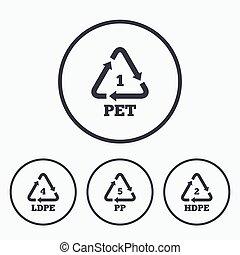 PET, Ld-pe and PP. Polyethylene terephthalate