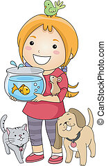 Pet Lover Girl - Illustration of a Little Girl Surrounded by...