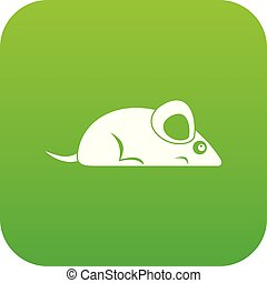 Pet mouse icon digital green