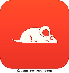 Pet mouse icon digital red