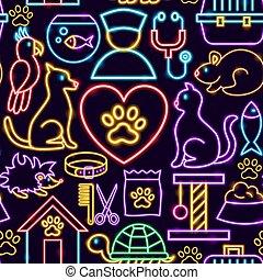 Pet Neon Seamless Pattern