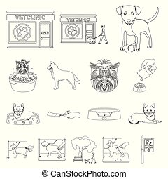 Pet outline icons in set collection for design. Care and education vector symbol stock web illustration.