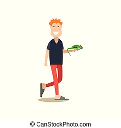 Pet owner with his green lizard iguana vector flat illustration