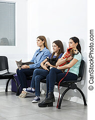Pet Owners Sitting On Chairs In Waiting Area - Bored female...