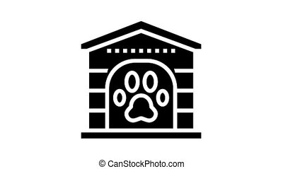 pet paw booth animated glyph icon. pet paw booth sign. isolated on white background
