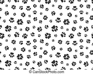 Pet paw pattern. Animal background with god cat paws. Pet steps seamless texture