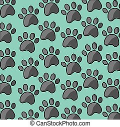 pet paw print dog cat seamless pattern