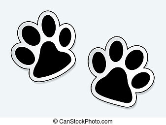 Pet paw prints - Animal paw prints icons with shadow effect