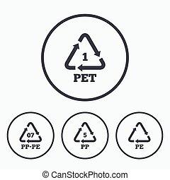 PET, PP-pe and PP. Polyethylene terephthalate