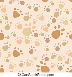 Eps 10 vector seamless pattern with pet legs' imprint in monochrome beige and brown colors