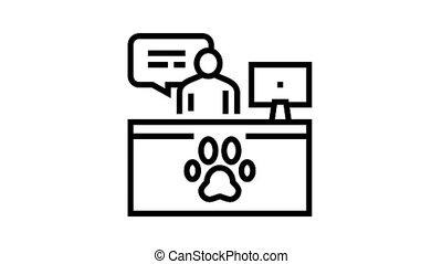 pet shelter worker workspace animated black icon. pet shelter worker workspace sign. isolated on white background