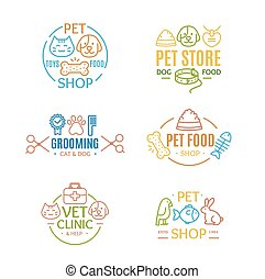 Pet Shop Badges or Labels Color Line Art Set. Vector