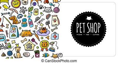 Pet shop banner, vertical seamless border for your design