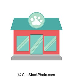 pet shop dog cat paw print facade
