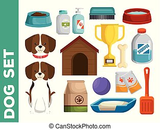 pet shop dog set icons