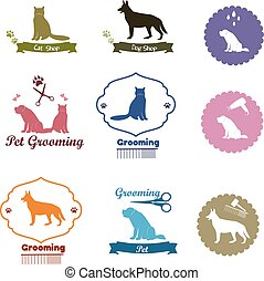 Pet shop emblem set