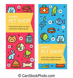 Pet Shop Flyer Banner Placard Set. Vector