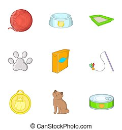 Pet shop icons set, cartoon style