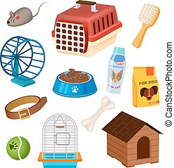Pet shop icons set in cartoon style. Doghouse, collar,...