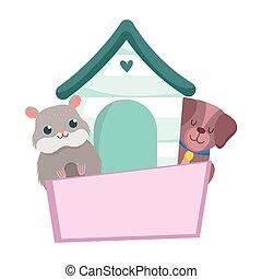 pet shop, little dog hamster wooden house animal domestic cartoon