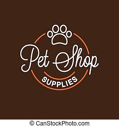 Pet shop logo. Round linear logo of pet supplies
