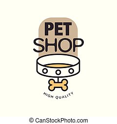 Pet shop logo template design, brown badge for company identity, label for animal store, quality service and food vector Illustration on a white background