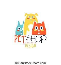 Pet shop logo template original design, colorful badge with animals, hand drawn vector Illustration