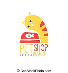 Pet shop logo template original design, colorful badge with cat and fish, hand drawn vector Illustration