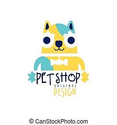 Pet shop logo template original design, colorful badge with funny cat, hand drawn vector Illustration