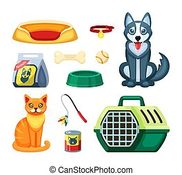 Pet shop set. Assortment for cat and dog, toy, white ball, ...