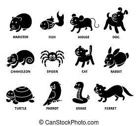 Pet shop, set silhouette types of pets