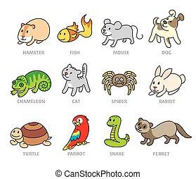 Pet shop, set types of pets