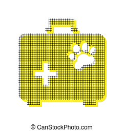 Pet shop sign illustration. Vector. Yellow icon with square patt