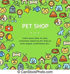 Pet Shop Signs Round Design Template Thin Line Icon Concept. Vector