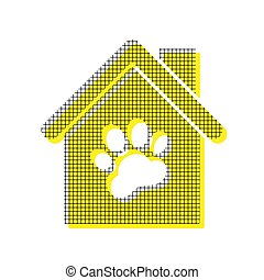 Pet shop, store building sign illustration. Vector. Yellow icon