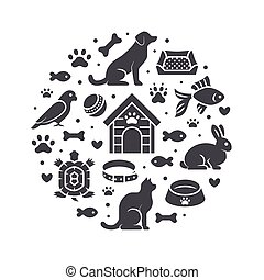 Pet shop vector circle banner with flat silhouette icons. Dog house, cat food, bird, rabbit, fish, animal paw, bowl illustrations. Signs for veterinary poster isolated on white background