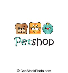 Pet shop vector logo template, outline color dog, cat, bird