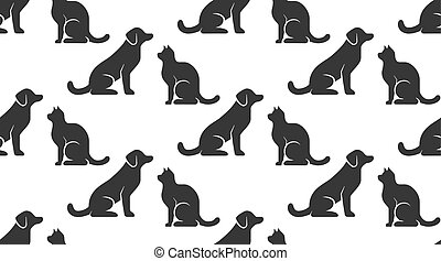 Pet shop vector seamless pattern with flat icons of dog and cat sitting opposite each other. Black silhouette on white color background, animal wallpaper for veterinary clinic