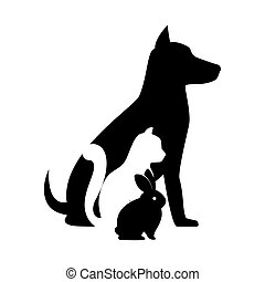 pet shop veterinary sign silhouette dog cat bunny vector ...