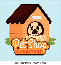 pet shop veterinary with cute dog in wooden house