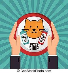 Pet shop with cat design, Vector illustration