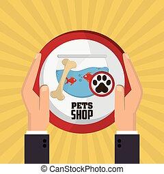 Pet shop with fish design, Vector illustration