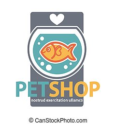 Pet shop with fish. Vector