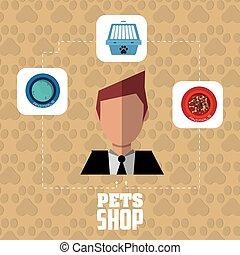 Pet shop with man design, Vector illustration