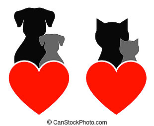 pet sign - dog and cat sign with kids and heart